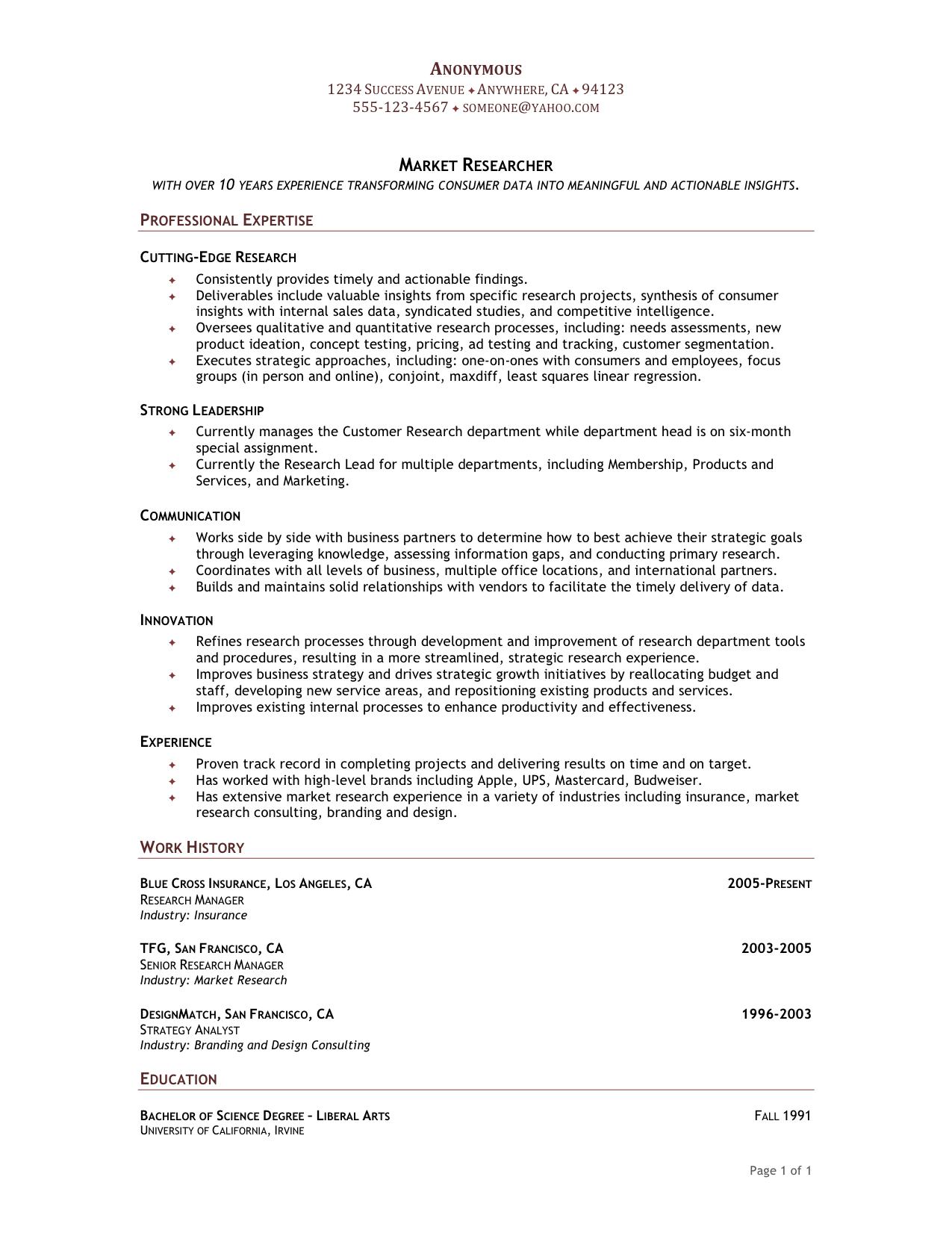 Functional Resume Format  Sample Chronological Resume